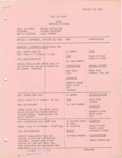 N.p.: N.p., 1963. Twenty-page Shooting schedule for the 1963 film, dated February 12, 1963, with str...