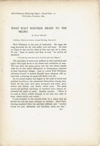 WHAT WALT WHITMAN MEANS TO THE NEGRO.