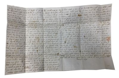 Very Good. Oblong sheet (40 x 25 cm.) containing a three-page letter which was folded several times ...