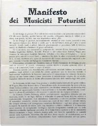 Manifesti dei Musicisti Futuristi by  Balilla [Futurist Music] Pratella - [1911] - from Kenneth Mallory Bookseller. ABAA and Biblio.com