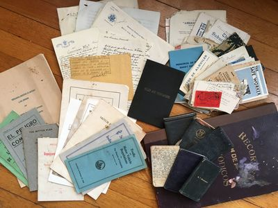 , 1932. Very good.. Seventy-five items, plus six small notebooks and one folio scrapbook. Some wear ...