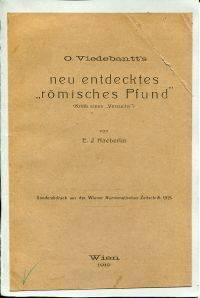 O. Viedebantt's neu entdecktes römisches Pfund.