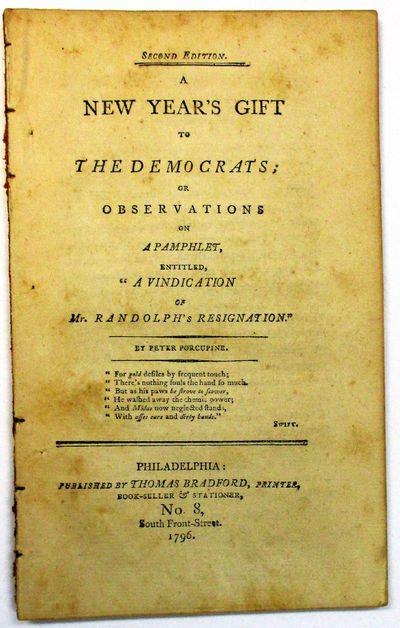 Philadelphia: Published by Thomas Bradford, Printer, 1796. iv, -71, pp. Disbound, mild toning. Else ...