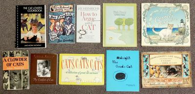 Includes a cookbook, cat cartoons, cat humor, children's books about cats, and more. 5 hardcover and...