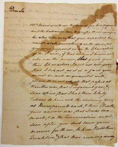 Frederick County, VA, 1769. Single sheet folded to 6