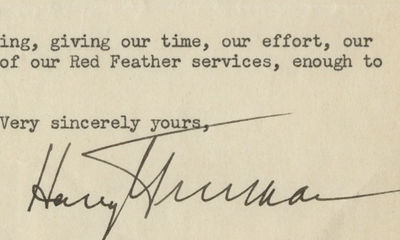 5/5/48. Harry Truman In a letter to Henry Ford II, supporting the United Way, asks notable businessm...