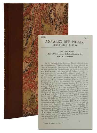 Leipzig: Verlag von Johann Ambrosius Barth, 1916. First Edition. Near Fine. First edition. Annalen d...