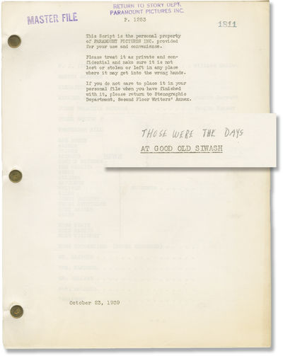 Los Angeles: Paramount Pictures, 1939. Draft script for the 1930 film, here under the working title ...