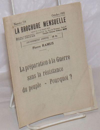 Paris: Groupe de Propagande par la Brochure, 1935. Pamphlet. 29p., wraps secured by folding, 5.5x6.7...