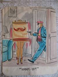 "image of ""HANDS UP !"" - Risque, One Panel Gag, ORIGINAL CARTOON ART"