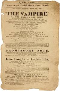 The Vampire Or, The Bride of The Isles. FIRST TIME. Theatre Royal, English Opera House, Strand. This Evening, Monday, August 7th, 1820
