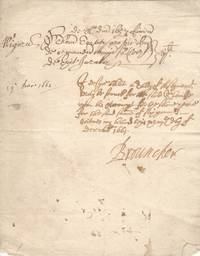 image of Fine Autograph document signed (Sir William, Viscount, 1620-1684, Commissioner for the Admiralty, Mathematician, 1st President of the Royal Society 1662, helped Charles II design a yacht)