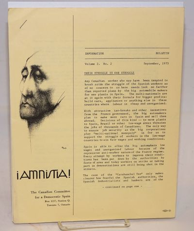 Toronto: Â¡Amnistia!, 1973. 9p., single issue of the 8.5x11 inch bulletin, address label on rear c...
