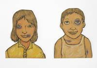 Fight couple : crayons de couleurs sur cartons découpés [dessin original signé / original drawing, signed]