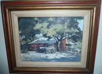 Untitled, Original Oil Painting - Hill Country Barn & Wagon