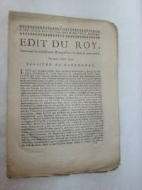 EDIT du Roy, Concernant les établissmens et acquisitions des Gens de Main-morte. Du mois...
