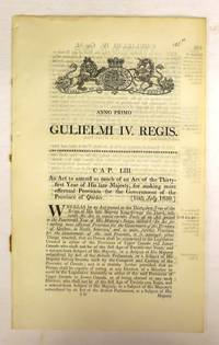 An Act to amend so much of an Act of the thirty-first year of His late Majesty, for making more effectual Provision for the Government of the Province of Quebec