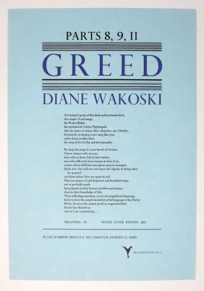 Los Angeles: Black Sparrow Press, (n. d.). First Edition. A NF copy.. Single sheet of blue paper pri...