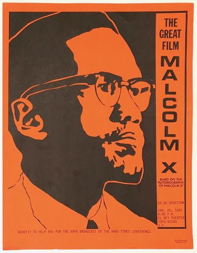San Francisco: KPFA, 1976. 8.5x11 inch handbill with portrait of Malcolm X; very good.