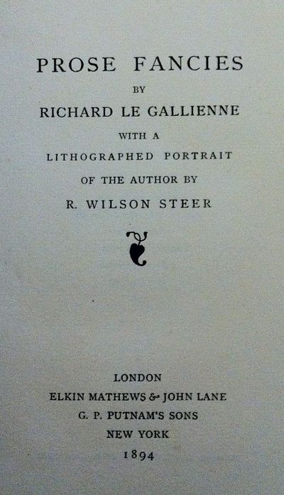 London: Elkin Mathews and John Lane, 1894. First edition. First edition. 4to. Original drab paper-co...