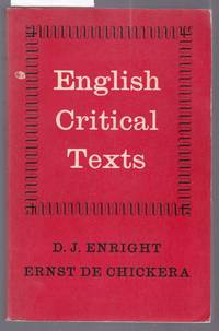image of English Critical Texts 16th Century to 20th Century