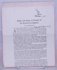 Hellas and Israel: a portrait of Sir Richard Livingstone [inscribed & signed]