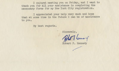 21/06/1965. Robert Kennedy This letter comes to us from the descendants of the recipient, and it has...