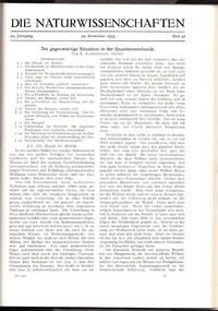 """SCHRODINGER'S CAT """"Die gegenwärtige Situation in der Quantenmechanik"""" (Die Naturwissenschaften 23 pp. pp. 807-812; 823-828; 844-849, 1935)"""