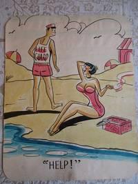 "image of ""HELP !"" - Risque, One Panel Gag, ORIGINAL CARTOON ART"