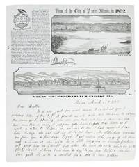 PICTORIAL LETTER SHEET.  View of the City of Peoria, Illinois, in 1832.  View of Peoria, Illinois, 1852.  [caption titles]
