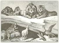 Sheep, Wolf, Vulture & Kite before the Judgement Seat of the Lion