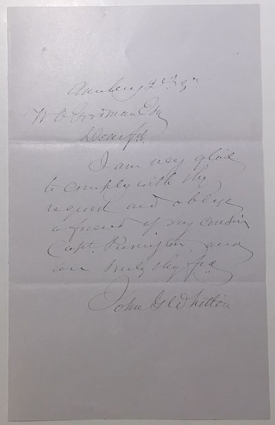 1883. unbound. near fine. 1 page, 8 x 5 inches, Monday 21st, 1883, responding to a request, in full:...