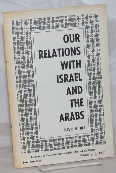 Boulder, CO: The American Committee for Justice in the Middle East, 1971. Pamphlet. 10p., stapled wr...