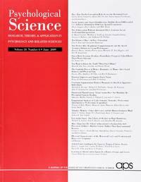 image of Psychological Science (Volume 20, Number 6, June 2009)