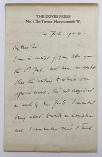 [Cobden-Sanderson, T. J.- ALS to Collector, Regarding Fellow Bookbinder Florence Foote ] ALS Cobden-Sanderson, T. J. to Charles Williston McAlpin