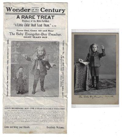 Small broadside and cabinet card photo of El-Joseph Robert Raycroft. Undated, but ca. 1905. Broadsid...