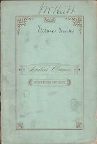 Register of Ladies Annex, Southwestern University. Georgetown, Texas 1884-85