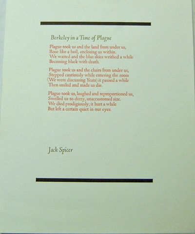 Berkeley: Arif Press, 1974. First Edition. Paperback. Near Fine. One sheet poetry broadside printed ...