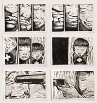 """Cinta yang meledak (""""Amour explosif"""") : série de 3 paires de gravures sur bois. Tirage unique."""