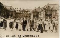 image of 1910s REAL PHOTO POSTCARD (RPPC) Depicting Tour Group in Front of Palais de Versailles,Paris, France