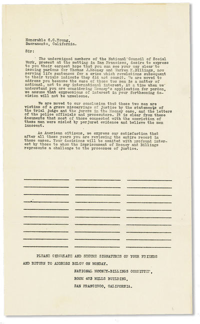 San Francisco: National Mooney-Billings Committee, n.d., ca. 1930. First Edition. Broadside (35x21.5...