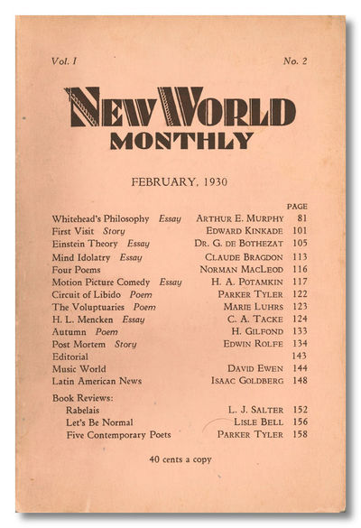 New York, 1930. Volume one, number two (of two numbers published)). Large octavo. Printed flesh-pink...