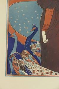 """""""La femme au paon""""""""  Rare original color lithograph by Louis John Rhead for L'Estampe Moderne on Japan paper"""