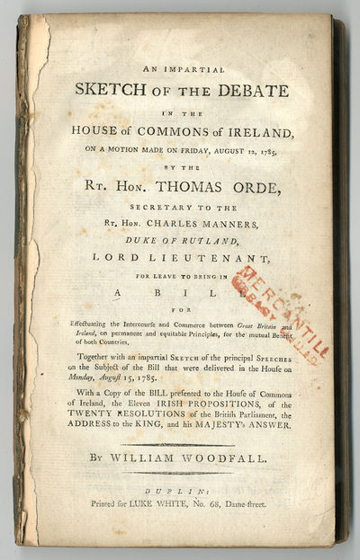 Dublin: Printed for Luke White, No. 68 , Dame- Street, 1785. ,ii,200,24pp. Octavo. Extracted from bi...