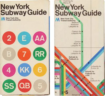 New York: Metropolitan Transit Authority, 1972. Both maps machine-folded to be pocket-sized, and lig...