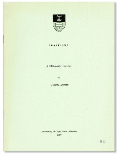 Cape Town: University of Cape Town Libraries, 1969. Third Printing. Octavo (22.5cm.); publisher's gr...