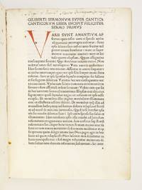 SERMONES SUPER CANTICA CANTICORUM by GILBERTUS DE HOILANDIA - FIRST EDITION - 16 April 1485 - from Phillip J. Pirages Fine Books and Medieval Manuscripts (SKU: CEH1924)