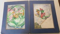 image of TWO ORIGINAL SIGNED WATERCOLOR PAINTINGS by the Children's book author and illustrator ANN GEDNEY, portraying the adventures of a young DRAGON.