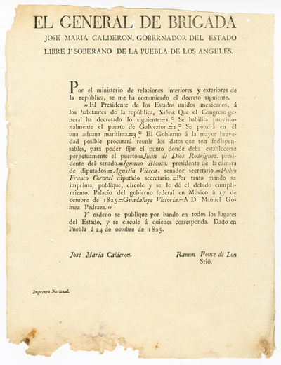 Puebla, 1825. Broadside, 11 1/4 x 8 3/4 inches. Minor worming near top edge, just touching one lette...