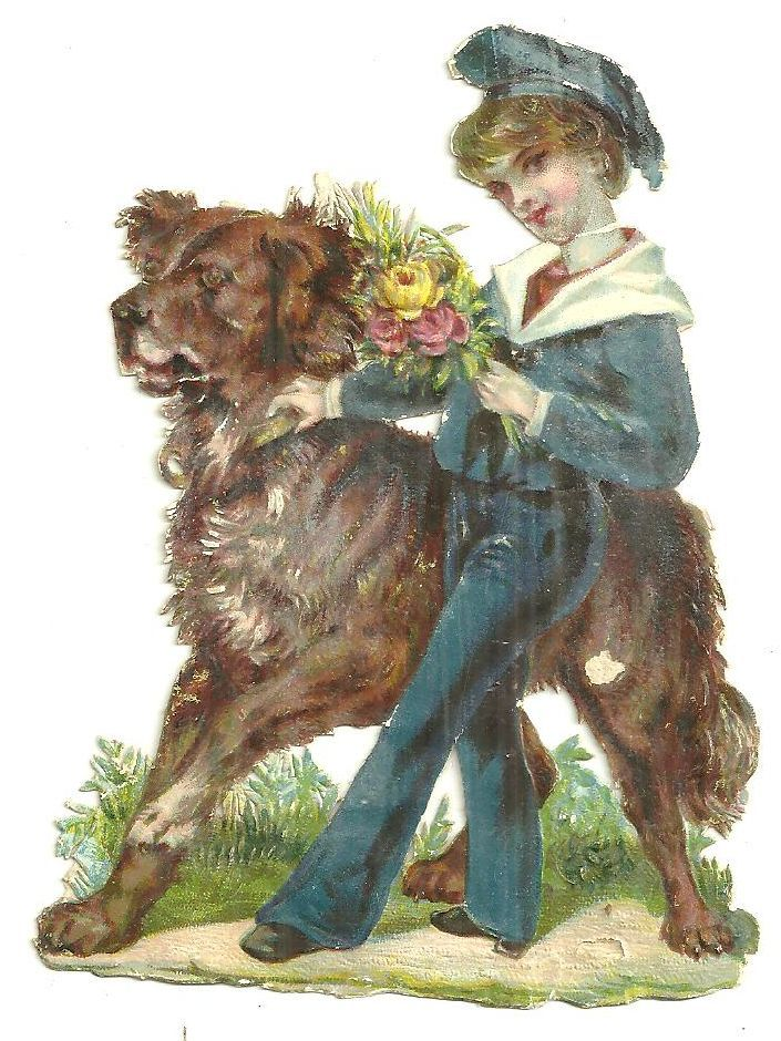 Image for VICTORIAN DIE CUT CARD OF BOY WITH HIS DOG